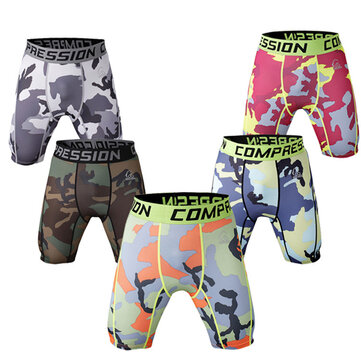 Pro Men Quick-drying Stretch Thin Dacron Camouflage Sports GYM Running Skinny Shorts