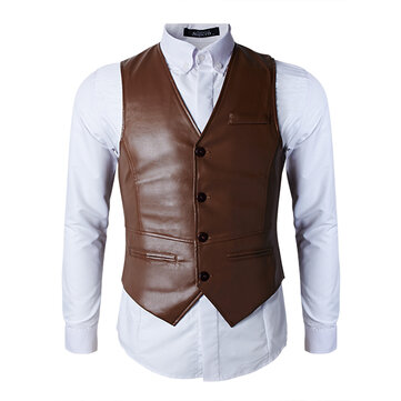 Fashionable Casual PU Leather Vest Mens Slim Fit Black Brown Joker Vest