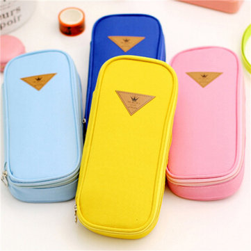 Canvas Pencil Case Pen Pocket Cosmetic Travel Makeup Storage Holder Bags