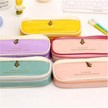 PU Leather Girl Pencil Case Travel Makeup Cosmetic Pen Pocket Storage Holder Bag