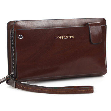BOSTANTEN Genuine Leather Cowhide Long Zipper Wallet Business Clutch Purse Handbag