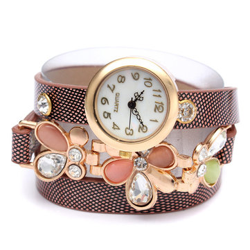 Vintage Women Rhinestone Weave Wrap Band Bracelet Wrist Watch