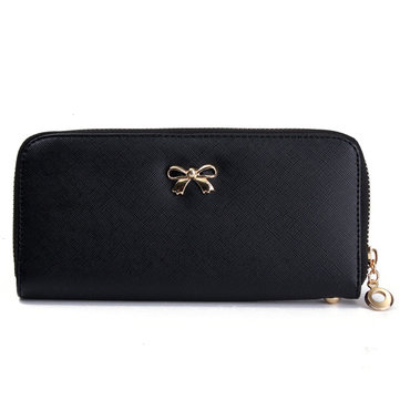 Women PU Leather Bow-knot Zipper Long Wallet