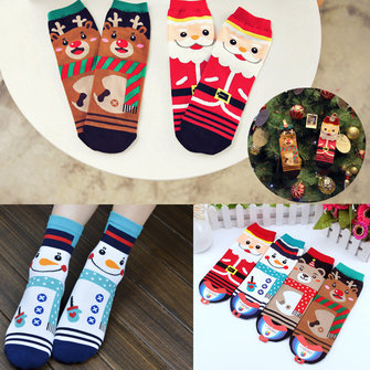 Men Women Socks Cute Christmas Deer Cartoon Bear Sox Cotton Tube Meias Ankle Hose