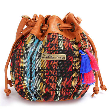 Women Bohemia Canvas Bucket Bags Drawstring Crossbody Bags Shoulder Bags