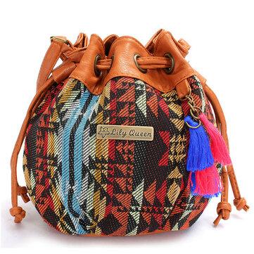 Women Bohemia Canvas Bucket Bags Drawstring Crossbody Bags Shoulder Bags