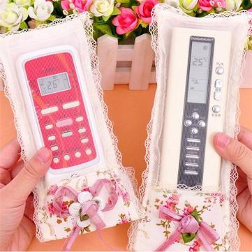 Lace Flower TV Remote Control Protective Case Cover Dustproof Bag Air Condition Holder Organizer