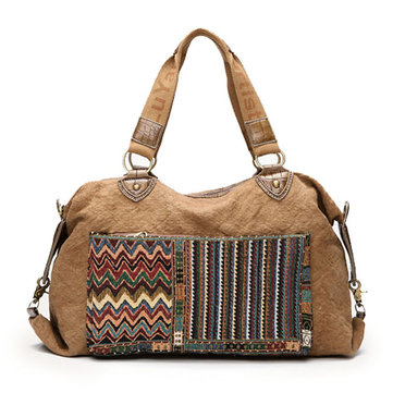 Women Folk Custom Crocodile Canvas Handbags Tribe Shoulder Bags Leisure Bohemia Crossbody Bags