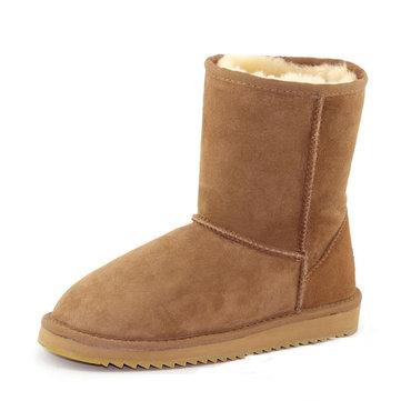 Mg nuove donne di inverno di pecora lana mantenere punta rotonda tacco basso a metà polpaccio stivali da neve moda caldo
