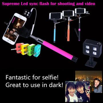 Draagbare 4 LED Versterkende Flash Vullicht voor iPhone Universal Smartphone Selfie Stick