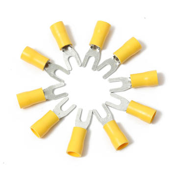 10PCS Yellow Insulated Fork Wire Connector Electrical Crimp Terminal 12-10AWG