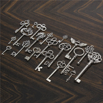 20Pcs Vintage Silver Skeleton Key Pendant Heart Bow Lock Steampunk Set