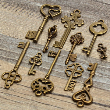 11Pcs Antique Vintage Old Look Skeleton Key Set Pendant Heart Bow Steampunk Lock