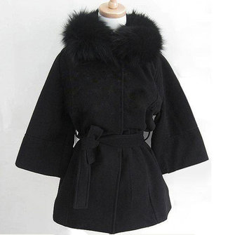 Women's Faux Fur Collar Hoodie Ponchos Trench Coat Outwear