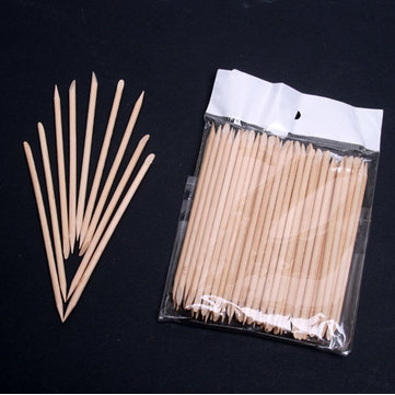 100 x Orange Wood Stick Nail Art Cuticle Pusher Remover