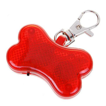 Cute Pet Collar Pendant Bone Flashing LED Light Red