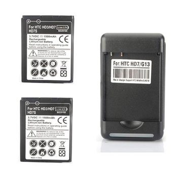 2x1500mAh Battery + Wall Charger For HTC Wildfire S G13