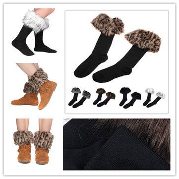 Sexy Half Long Socks Faux Fur Cover Boot shoes Stockings