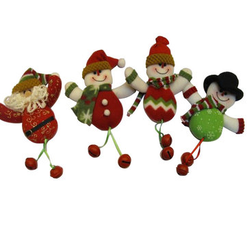 Cut Funny Snowman Santa Father Christmas With Bells For Gifts Decoration