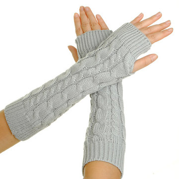 Fashion Women's Winter Arm Warmer BRAIDED KNIT Mitten Fingless Glove