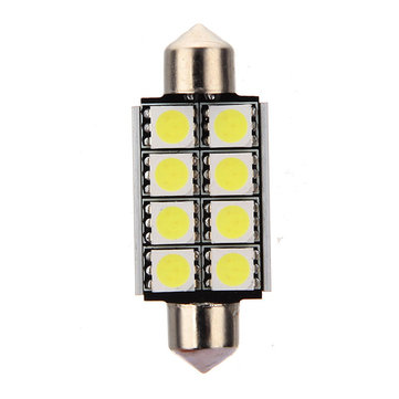 12V 2mm 8 SMD 5050 LED Pure White Canbus Festoon Dome Roof Light Bulb