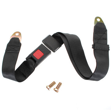 Black Car Seat Belt Lap Belt Two Point Adjustable Safety Universal Sets
