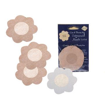 5 Pairs Flower NIPPLE Non-Woven Sticker Disposable Fabric Bra