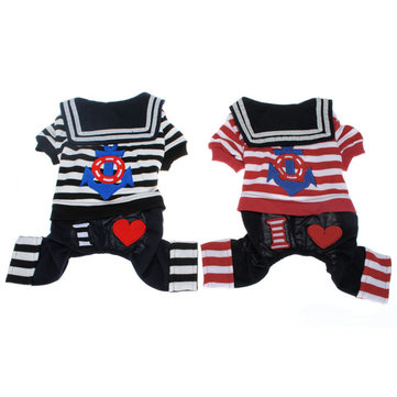 Pet Dog Navy Sailor Stripe Suit Costume T-Shirt Dog Jumpsuits