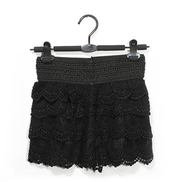 Fashion Womens Skirt Sweet Crochet Tiered Lace Shorts Skirt Pants