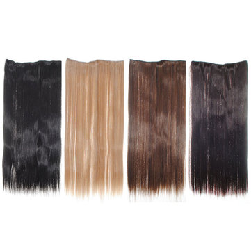 Elegante clipe onepiece longa reta em extensões do cabelo
