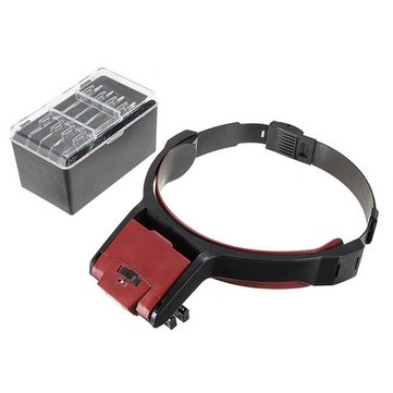 Detachable 4 Glass Lens 3.5x Loop Head Band VISOR LED Light Magnifying