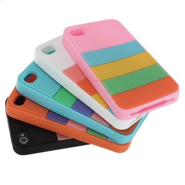 Rainbow Stripe Design Silicone Gel Soft Case Cover For iPhone 4 4G 4S