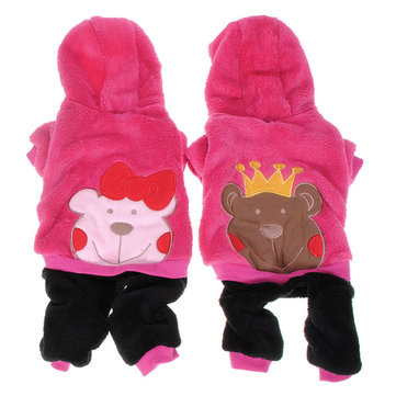 Prince Princess Bear Pet Fleece Clothes Hoodie Jumpsuit