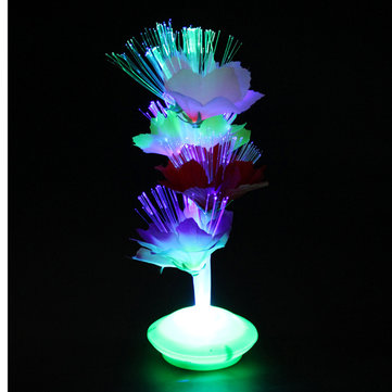 Colorful Fiber Optic Flower Xmas Gift Party Home Night Light Lamp