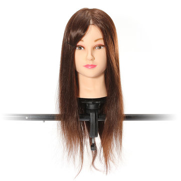 Brown 70 Percent Real Hair Cutting Training Mannequin Head Clamp