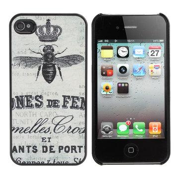 Retro Frosted Bee Stampstijl Hard Plastic Case voor iPhone 4 4s
