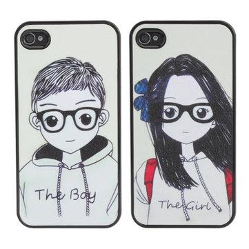 Bril Lovers Paar Hard Back Plastic Case Cover Voor iPhone 4 4s