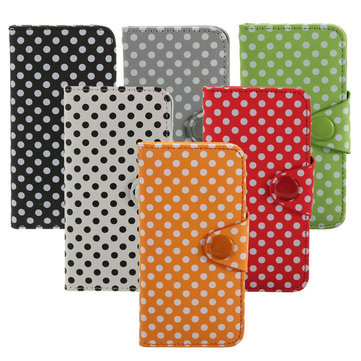 Polka Dot Wallet Stand Folio PU Leather Case Cover For iPhone 5