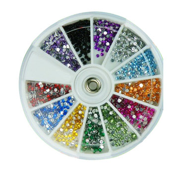 1200pcs Glitter Rhinestones Nail Art Stickers With Wheel Glue