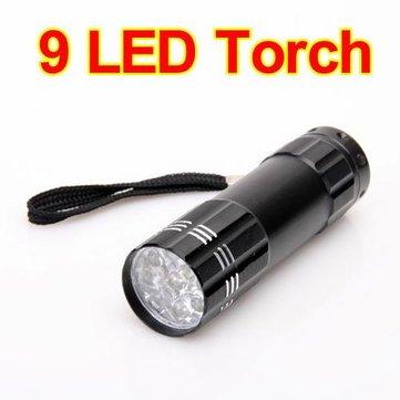9 LED Pocket Aluminium Torch Flashlight Camping Light Lamp AAA
