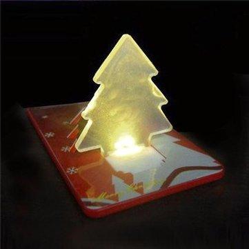 Folding Pocket Card LED Night Light Bulb Christmas Tree