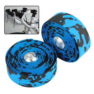 Bike Bicycle Cork Handlebar Tape Wrap With 2 Bar Plug Blue