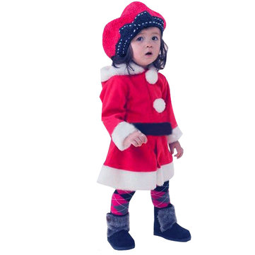 Baby Girl Three Layer Christmas Red Hooded Flounced Skirt Dress
