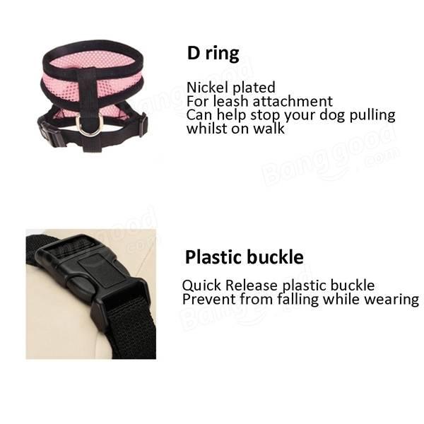 Pet Dog Mesh Harness Strap Adjustable Safe Control Leash Belt Restraint Vest