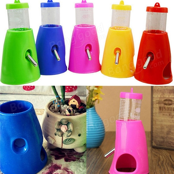 2 In 1 Plastic Hamster Water Bottle Hut Rat Mouse Pet Drinking Feeder House Dispenser