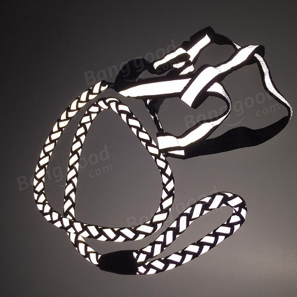 Reflective Nylon Noctilucent Dog Harnesses Leash Adjustable Pet Dog Walking Rope