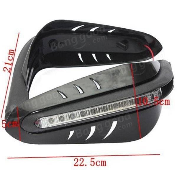 12V Motorcycle Protective DRL LED Indicator Light Brush Hand Guards Black