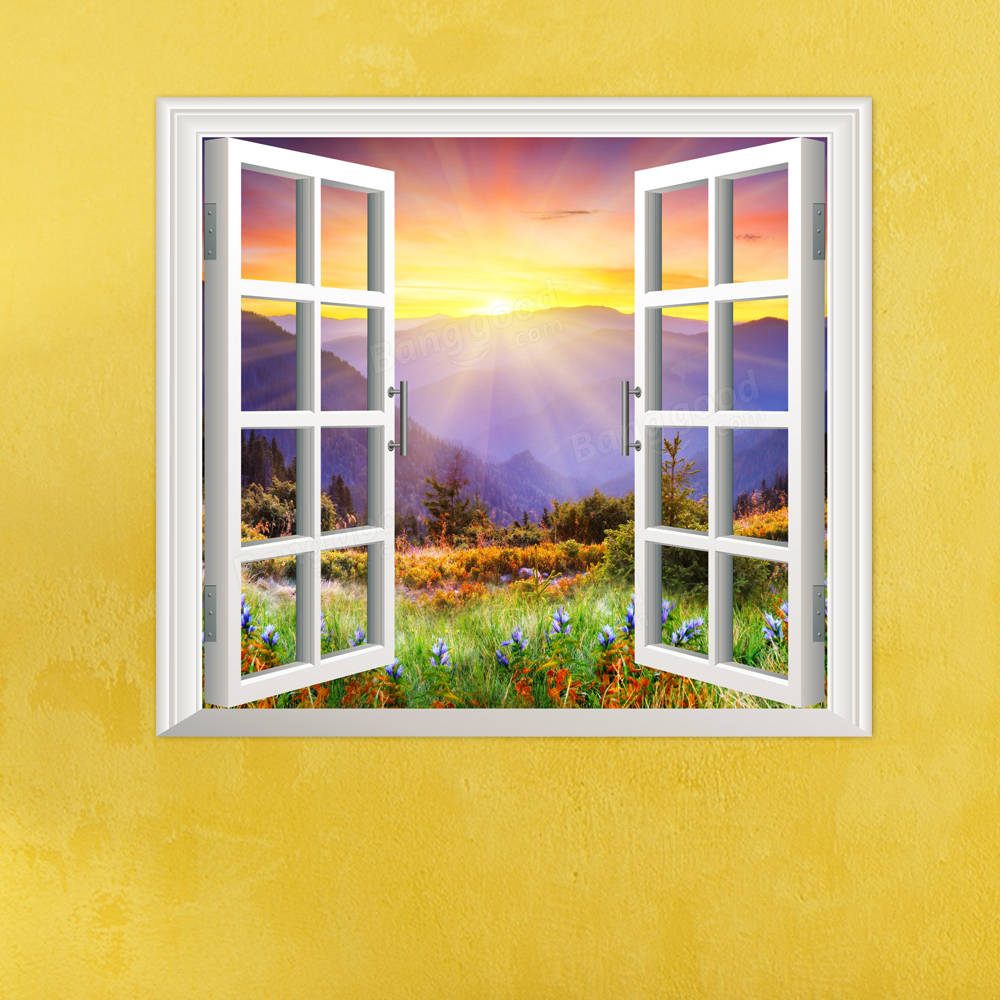 Sunrise 3D Artificial Window PAG Wall Decals Hill View Room Stickers ...