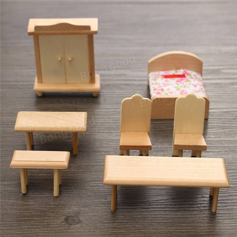 furniture miniature. New 29 Pcs 1:24 Scale Dollhouse Miniature Unpainted Wooden Furniture Model Suite Banggood