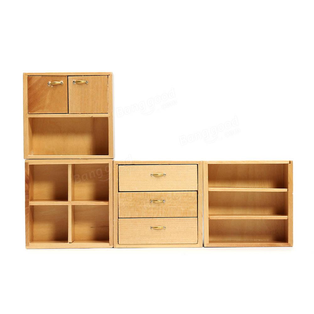 1:12 accesorios de la casa de muñecas muebles de madera gabinete ...